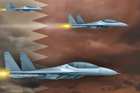 Qatar air strike concept. Modern war airplanes attack on Qatar flag background. 3d Illustration
