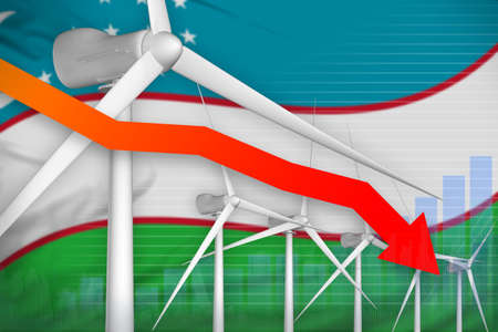Uzbekistan wind energy power lowering chart, arrow down - alternative energy industrial illustration. 3D Illustration Stock Photo