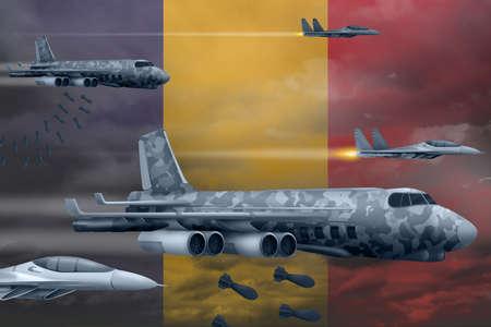 Romania bomb air strike concept. Modern Romania war airplanes bombing on flag background. 3d Illustration Фото со стока