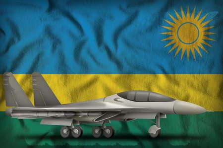 fighter, interceptor on the Rwanda flag background. 3d Illustration