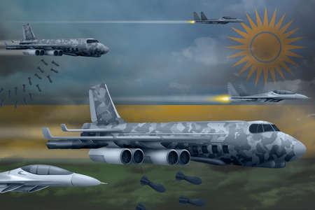 Rwanda bomb air strike concept. Modern Rwanda war airplanes bombing on flag background. 3d Illustration