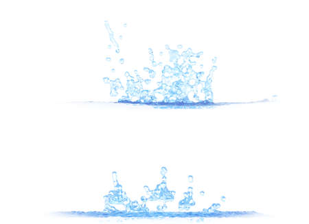 two side views of cool water splash - 3D illustration, mockup isolated on white - for design purposes