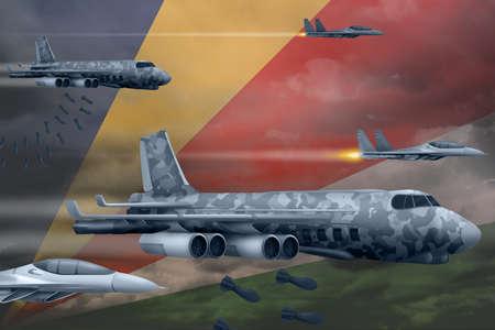 Seychelles bomb air strike concept. Modern Seychelles war airplanes bombing on flag background. 3d Illustration