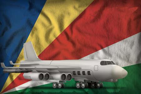 bomber on the Seychelles flag background. 3d Illustration
