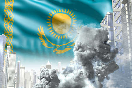big smoke column in the modern city - concept of industrial catastrophe or act of terror on Kazakhstan flag background, industrial 3D illustration