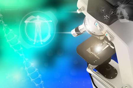 Medical analysis concept, lab electronic scientific microscope on colorful overlay background - medical 3D illustration
