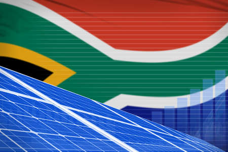 South Africa solar energy power digital graph concept - green energy industrial illustration. 3D Illustration