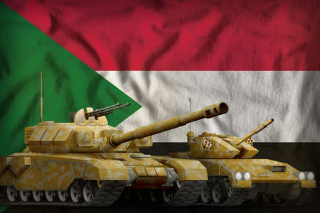 tanks with orange camouflage on the Sudan flag background. Sudan tank forces concept. 3d Illustration Фото со стока