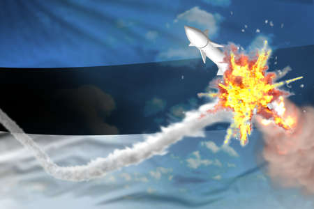 Estonia intercepted supersonic warhead, modern antirocket destroys enemy missile concept, military industrial 3D illustration with flag Imagens - 155998886