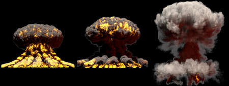 3 huge different phases fire mushroom cloud explosion of super bomb with smoke and flames isolated on black background - 3D illustration of explosion