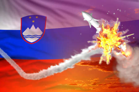 Strategic rocket destroyed in air, Slovenia supersonic missile protection concept - missile defense military industrial 3D illustration