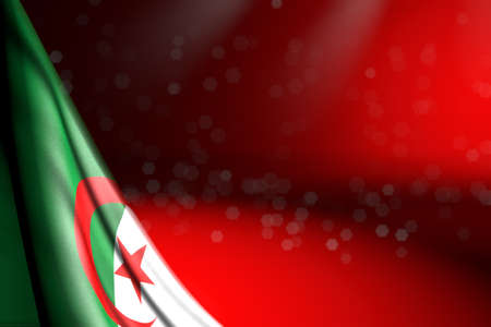 beautiful image of Algeria flag hangs diagonal on red with selective focus and empty space for your content - any holiday flag 3d illustration