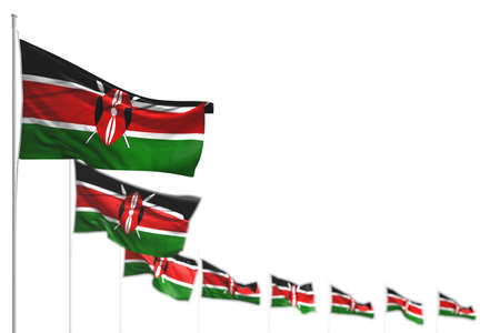 nice Kenya isolated flags placed diagonal, picture with soft focus and place for text - any occasion flag 3d illustration