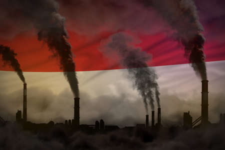 heavy smoke of industry pipes on Monaco flag - global warming concept, background with space for your logo - industrial 3D illustration