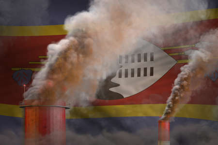 Global warming concept - heavy smoke from industrial pipes on Swaziland flag background with place for your logo - industrial 3D illustration Reklamní fotografie