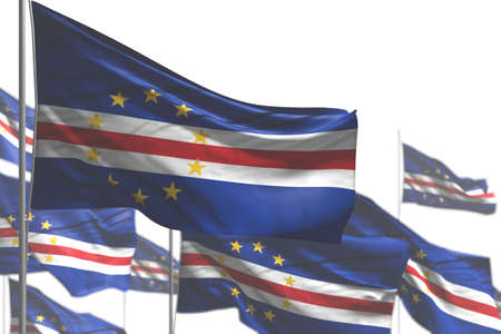 cute feast flag 3d illustration - many Cabo Verde flags are waving isolated on white - photo with bokeh