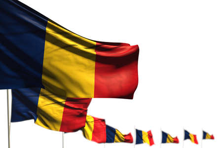 nice feast flag 3d illustration - Romania isolated flags placed diagonal, picture with selective focus and place for your text Stock fotó