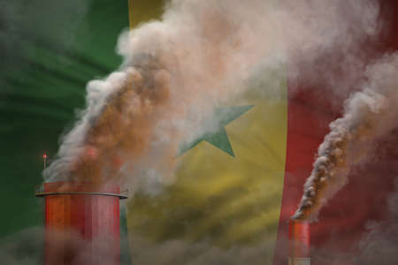 heavy smoke of factory chimneys on Senegal flag - global warming concept, background with place for your text - industrial 3D illustration