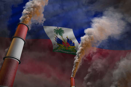 Haiti pollution fight concept - two big factory chimneys with heavy smoke on flag background, industrial 3D illustration
