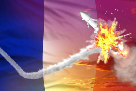 France intercepted supersonic warhead, modern antirocket destroys enemy missile concept, military industrial 3D illustration with flag