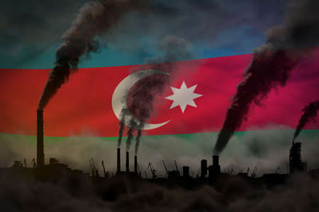 Dark pollution, fight against climate change concept - industrial pipes heavy smoke on Azerbaijan flag background - industrial 3D illustration 免版税图像