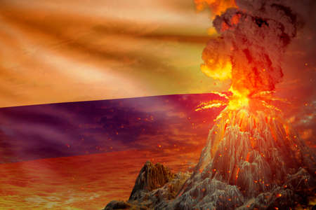 high volcano eruption at night with explosion on Colombia flag background, suffer from disaster and volcanic ash conceptual 3D illustration of nature Foto de archivo