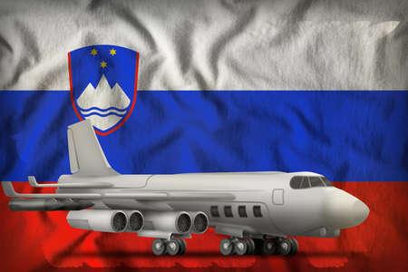 bomber on the Slovenia flag background. 3d Illustration