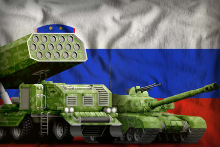 tank and rocket launcher with summer pixel camouflage on the Slovenia flag background. Slovenia heavy military armored vehicles concept. 3d Illustration