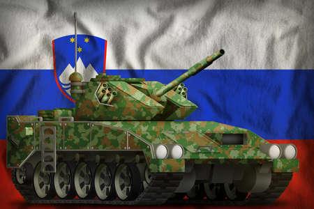 light tank apc with summer camouflage on the Slovenia flag background. 3d Illustration 免版税图像