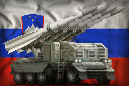 tactical short range ballistic missile with arctic camouflage on the Slovenia flag background. 3d Illustration