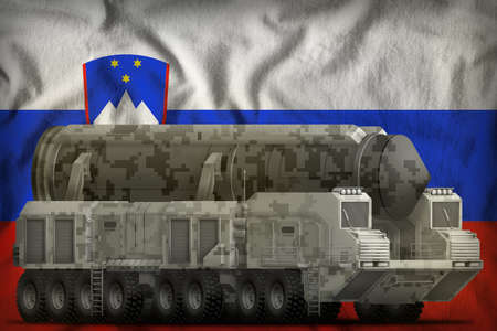 intercontinental ballistic missile with city camouflage on the Slovenia flag background. 3d Illustration