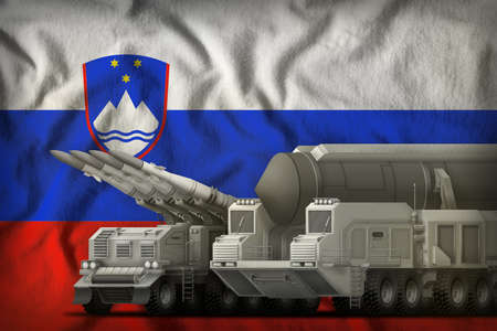 rocket forces on the Slovenia flag background. Slovenia rocket forces concept. 3d Illustration