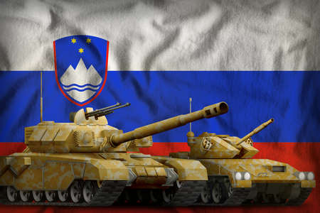 tanks with orange camouflage on the Slovenia flag background. Slovenia tank forces concept. 3d Illustration