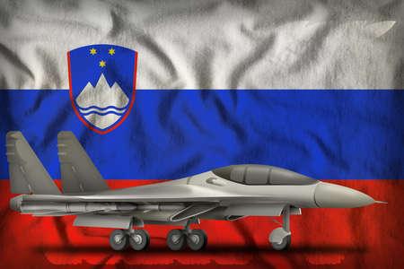 fighter, interceptor on the Slovenia flag background. 3d Illustration
