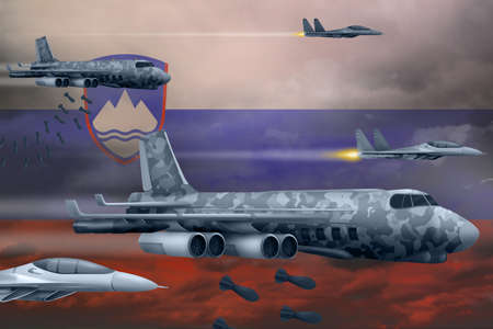 Slovenia bomb air strike concept. Modern Slovenia war airplanes bombing on flag background. 3d Illustration