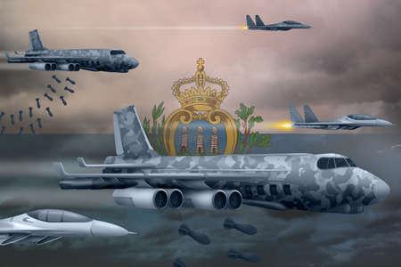 San Marino bomb air strike concept. Modern San Marino war airplanes bombing on flag background. 3d Illustration