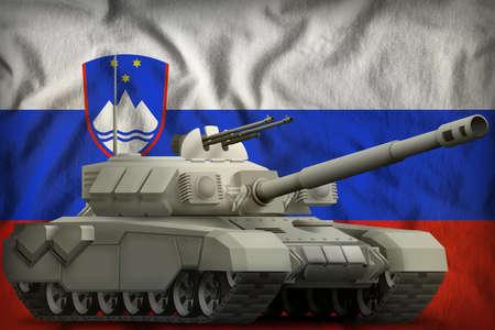 heavy tank on the Slovenia flag background. 3d Illustration