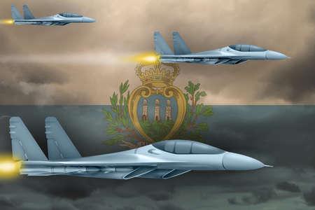 San Marino air strike concept. Modern war airplanes attack on San Marino flag background. 3d Illustration
