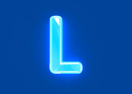 Blue shiny neon light reflective clear font - letter L isolated on dark blue background, 3D illustration of symbols