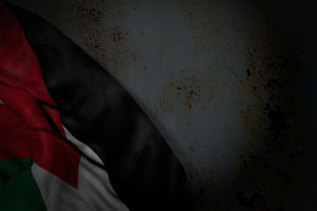 nice anthem day flag 3d illustration - dark photo of Jordan flag with large folds on rusty metal with free place for your text