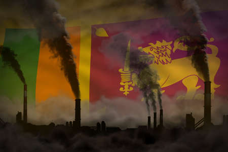 heavy smoke of plant chimneys on Sri Lanka flag - global warming concept, background with space for your text - industrial 3D illustration