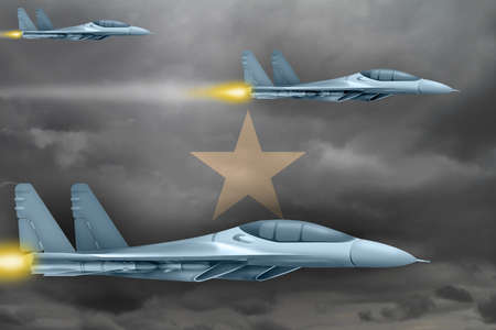 Somalia air strike concept. Modern war airplanes attack on Somalia flag background. 3d Illustration