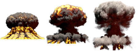 3 big different phases fire mushroom cloud explosion of thermonuclear bomb with smoke and flames isolated on white - 3D illustration of explosion