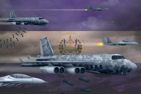 Modern El Salvador war airplanes bombing on flag background. 3d Illustration