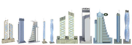 Set of high detailed city tall buildings with fictional design and cloudy sky reflection - isolated, view from above 3d illustration of skyscrapers 版權商用圖片