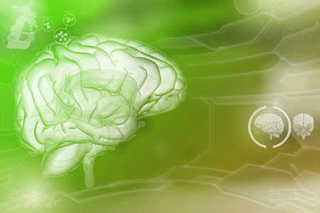Human brain, wisdom analysis concept - highly detailed electronic background, medical 3D illustration Stockfoto