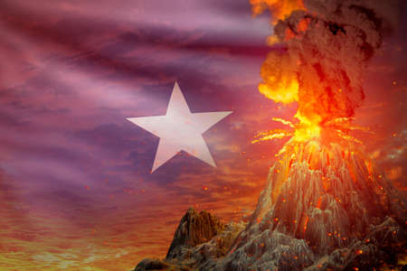 conical volcano eruption at night with explosion on Somalia flag background, problems of eruption and volcanic earthquake conceptual 3D illustration of nature