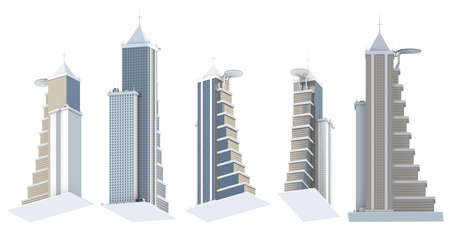 5 view from below renders of fictional design buildings with helipad with cloudy sky reflections - isolated on white, 3d illustration of architecture