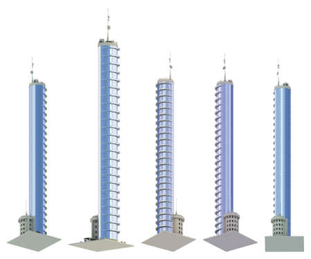 5 renders of fictional design houses with balconies with blue cloudy sky reflection - isolated, bottom view 3d illustration of skyscrapers