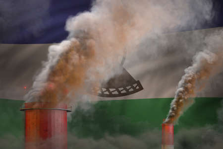 Global warming concept - heavy smoke from industrial chimneys on Lesotho flag background with space for your logo - industrial 3D illustration